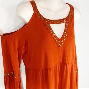 BOSTON PROPER Cold Shoulder Studded Blouse LARGE